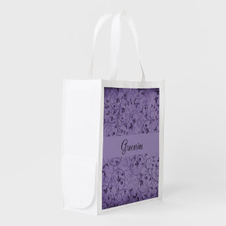 Purple Grungy Floral Grocery Bags