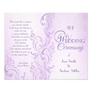 "Purple grungy Wedding programs 4.5"" X 5.6"" Flyer"