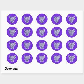 Purple Guardian Angel Art Decal Stickers