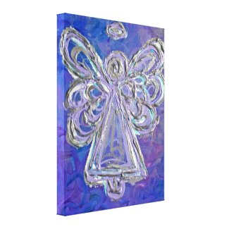 Purple Guardian Angel Art Wrapped Canvas Painting