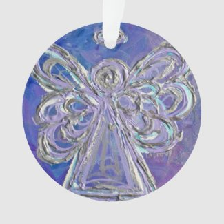 Purple Guardian Angel Gift Holiday Ornament