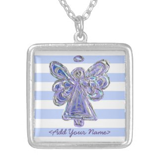 Purple Guardian Angel Series Sterling Necklaces
