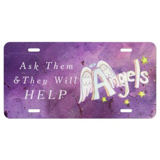 Purple Guardian Angels Help License Art Plate