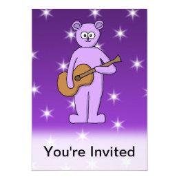 Purple Guitarist Bear. Card