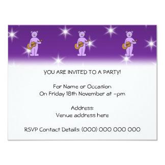 "Purple Guitarist Bear. 4.25"" X 5.5"" Invitation Card"