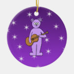 Purple Guitarist Bear. Ornament