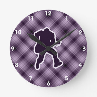 Purple Guitarist Round Clock