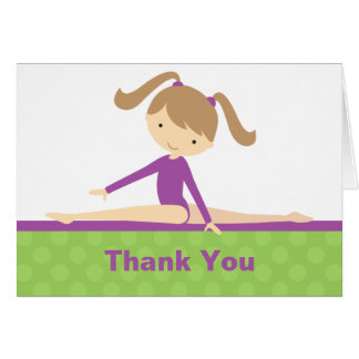 Purple Gymnast Thank You Note Card
