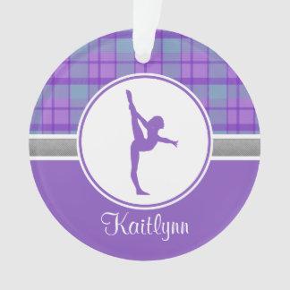 Purple Gymnastics Sweetheart Plaid w/ Monogram Ornament