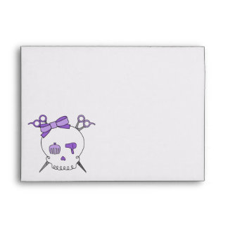 Purple Hair Accessory Skull -Scissor Crossbones 2 Envelopes