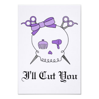 Purple Hair Accessory Skull -Scissor Crossbones #2 Custom Invitations