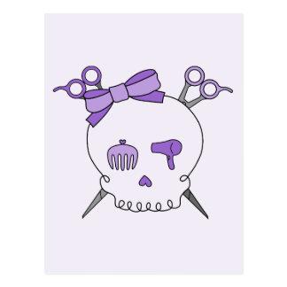 Purple Hair Accessory Skull -Scissor Crossbones 2 Postcards