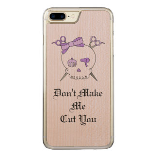 Purple Hair Accessory Skull -Scissor Crossbones #4 Carved iPhone 7 Plus Case
