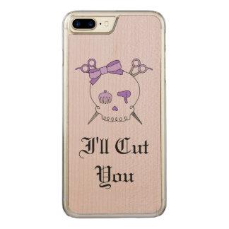 Purple Hair Accessory Skull -Scissor Crossbones #6 Carved iPhone 7 Plus Case