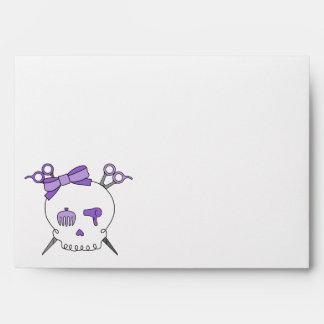 Purple Hair Accessory Skull -Scissor Crossbones Envelope