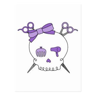 Purple Hair Accessory Skull -Scissor Crossbones Postcard