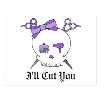 Purple Hair Accessory Skull -Scissor Crossbones Postcards