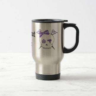 Purple Hair Accessory Skull -Scissor Crossbones Travel Mug