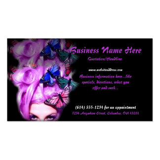 Purple Hair Butterfly Lady 2 Business Cards