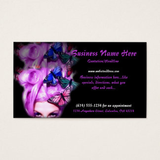 Purple Hair Butterfly Lady Appt. 3 Business Cards