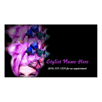 Purple Hair Butterfly Lady Appt. 4 Business Cards