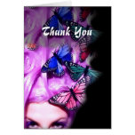 Purple Hair Butterfly Lady Customizable Card