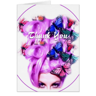 Purple Hair Butterfly Lady Customizable Card 2