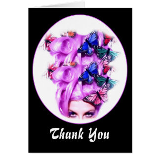 Purple Hair Butterfly Lady Customizable Card 3