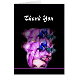 Purple Hair Butterfly Lady Customizable Card 4