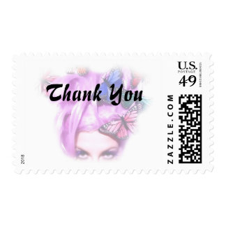 Purple Hair Butterfly Lady Postage Stamps