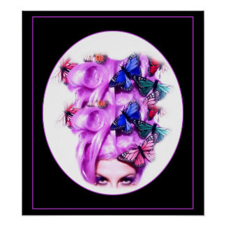 Purple Hair Butterfly Lady  Poster/Print 6 Poster