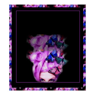 Purple Hair Butterfly Lady  Poster/Print 8 Poster