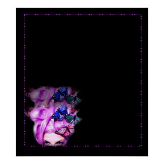 Purple Hair Butterfly Lady  Poster/Print Poster