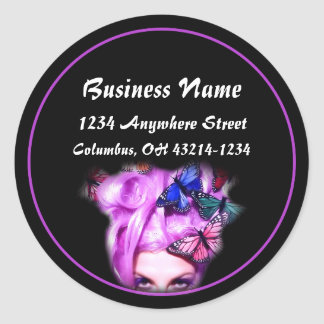 Purple Hair Butterfly Lady Round Address Labels Classic Round Sticker