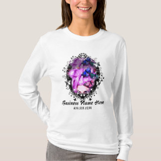Purple Hair Butterfly Lady T-Shirt Design 1