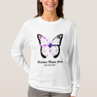 Purple Hair Butterfly Lady T-Shirt Design 4
