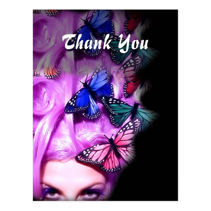 Purple Hair Butterfly Lady Thank You Postcards