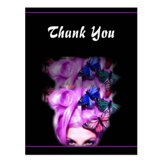 Purple Hair Butterfly Lady Thank You Postcards 2