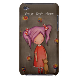 Purple hair little girl with cat iPod Case Case-Mate iPod Touch Case