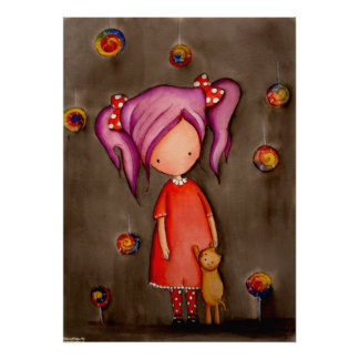 Purple hair little girl with cat Poster