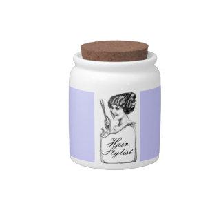 Purple Hair Stylist Vintage Tip Jar Candy Jars