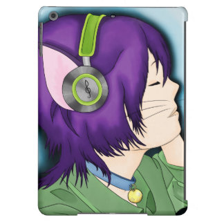 Purple Haired Cat Girl With Headphones iPad Air Case
