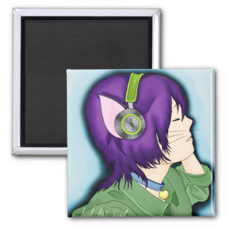 Purple Haired Cat Girl With Headphones Magnet