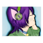 Purple Haired Cat Girl With Headphones Post Cards