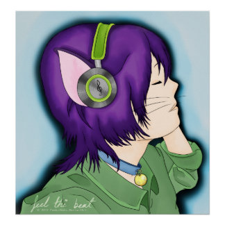 Purple Haired Cat Girl With Headphones Poster
