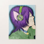 Purple Haired Cat Girl With Headphones Jigsaw Puzzles