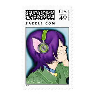 Purple Haired Cat Girl With Headphones Stamp