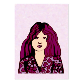 Purple haired woman large business card