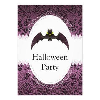 Purple Hairy Halloween Bat Personalized Invites