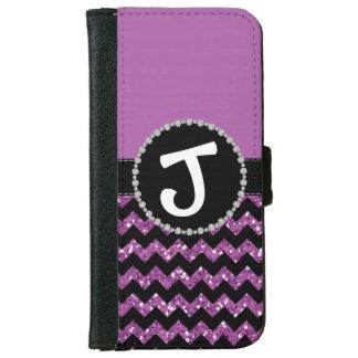 Purple Half Glitter Chevron, Diamond Ribbon Flap iPhone 6 Wallet Case